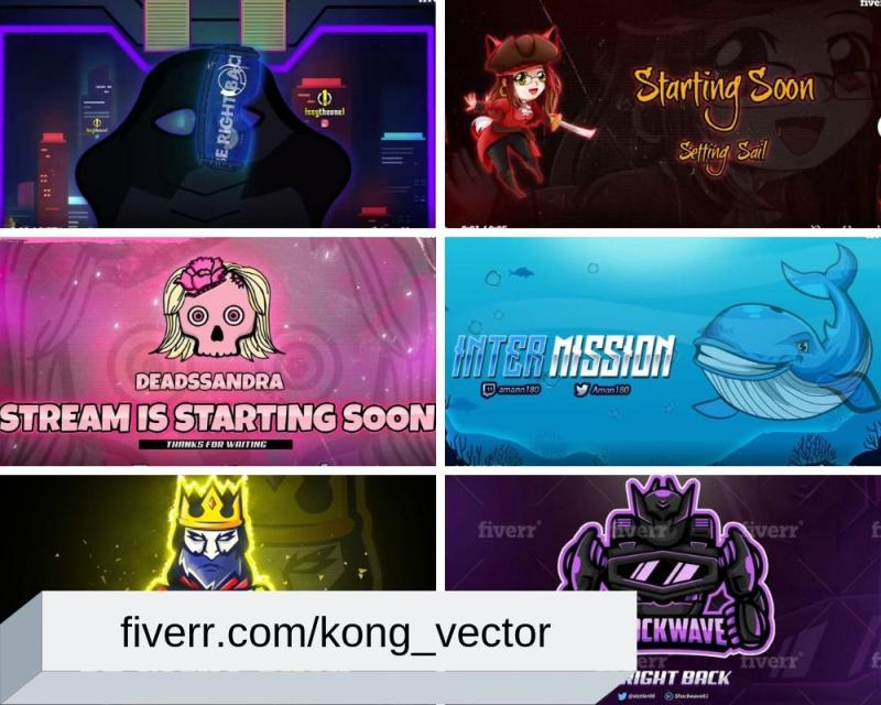 Animated Brb, Intro & Static Offline Screens for Twitch by kong_vector