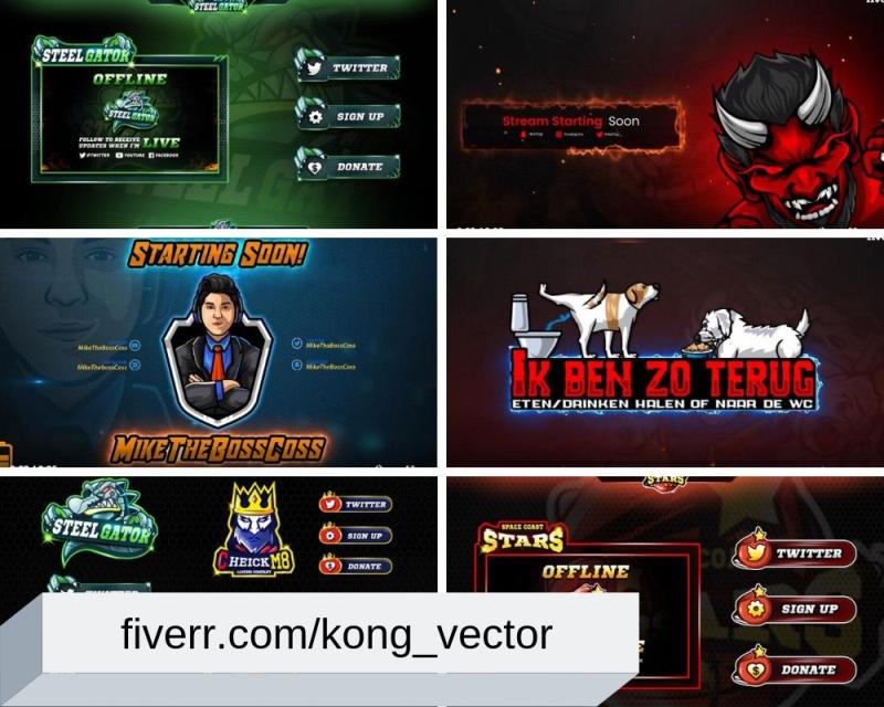 Animated Twitch Overlay, Facecam & Panel by kong_vector