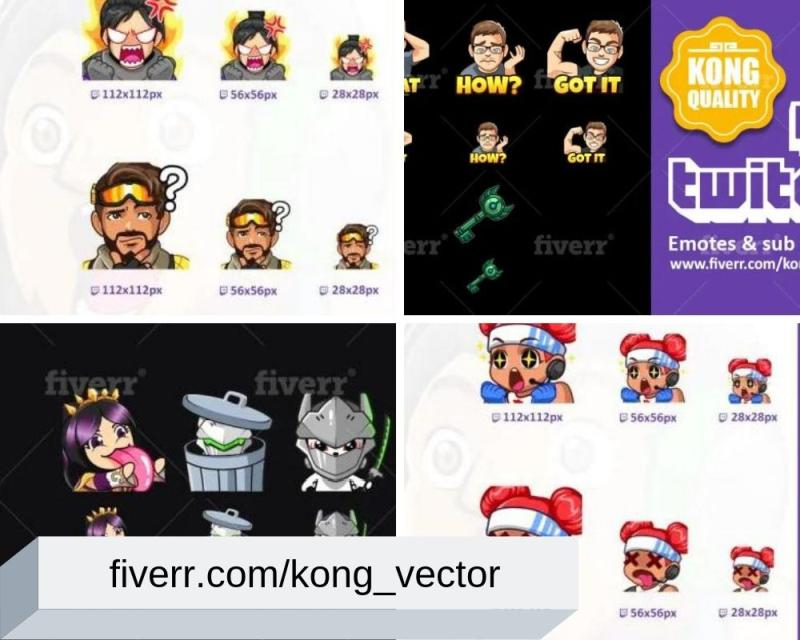 Custom Twitch Emotes & Sub Badges by kong_vector